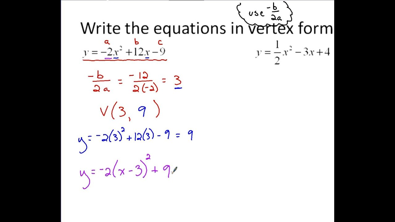 Algebra - Converting to Vertex Form using -b/2a - YouTube
