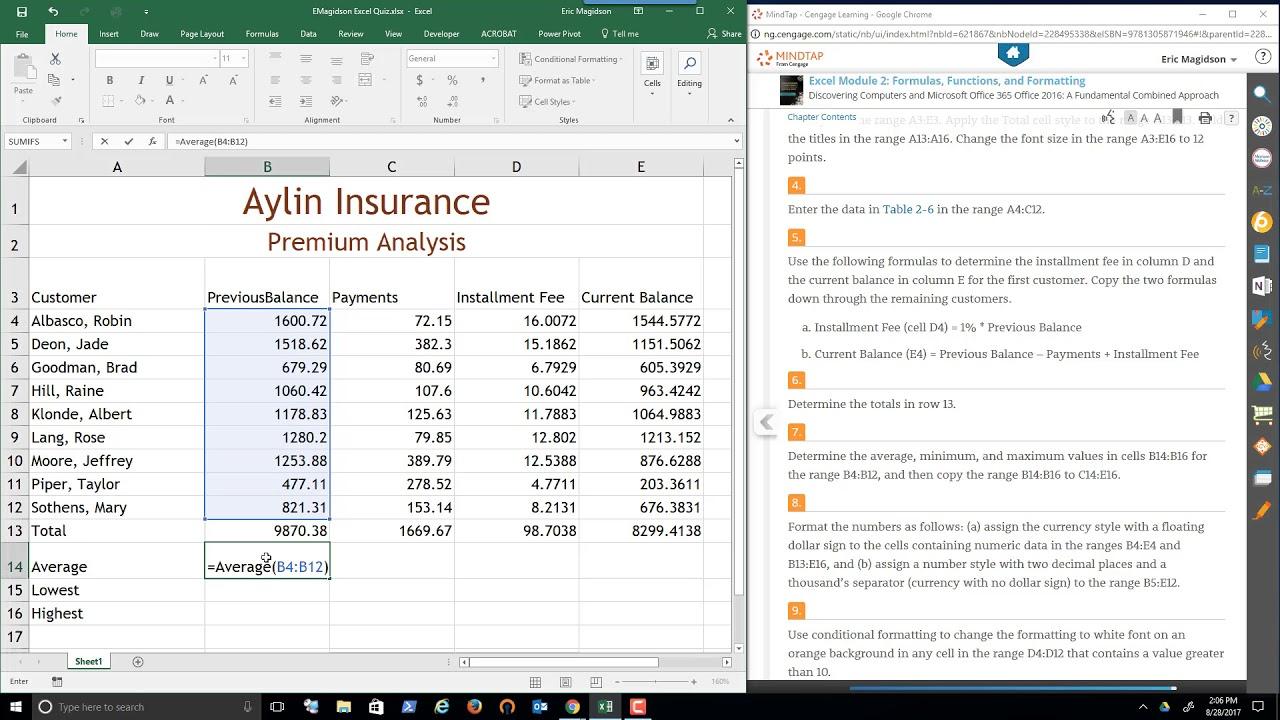 Excel Module 2 Lab 1 Solution Video