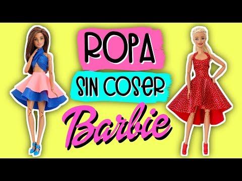 Cómo hacer Ropa Sin Coser para Barbie. Vestidos para Muñecas