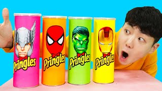 프링글스 먹으면 슈퍼히어로 변신해요 Making Pringles with Elsa and Hulk Superheroes Learn Color-마슈토이 Mashu ToysReview