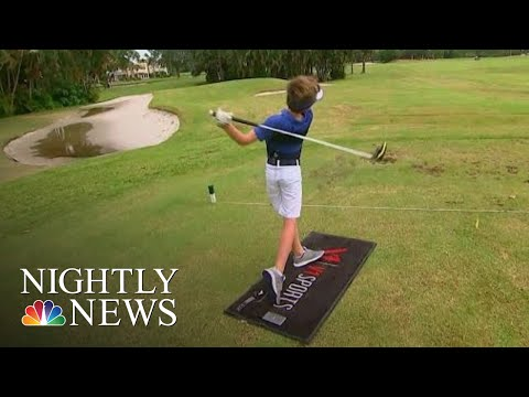 Kevin & Liz - 8 year old golfer - One armed swing.