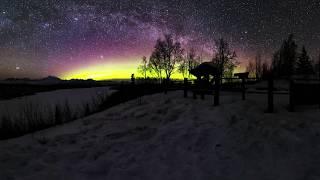 360 Milky Way and Aurora  timelapse filmed at Denali, Alaska thumbnail