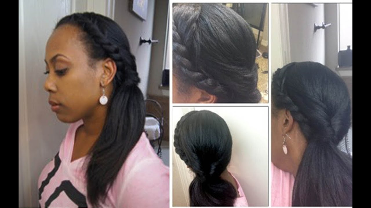 Casual Side Ponytail on Straight Natural Hair