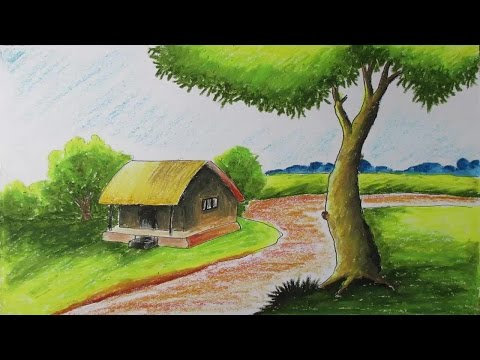 How to Draw a Village Landscape with Oil Pastels | Episode-6