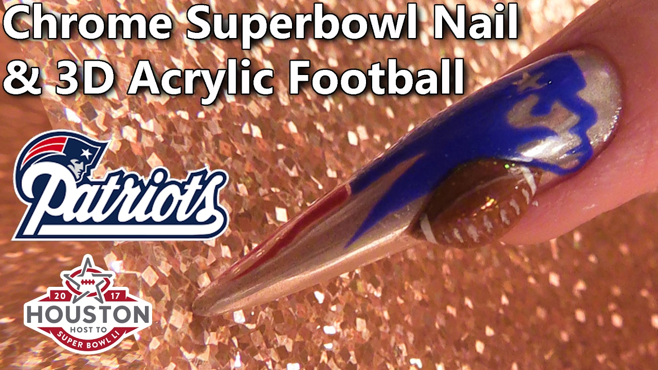 Superbowl 2017 New England Patriots Themed Sculpted Nail - YouTube