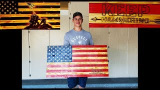 HOW TO BURN ALMOST ANY LOGO/PICTURE/EMBLEM/DESIGN INTO A WOODEN FLAG! NO STENCIL NEEDED