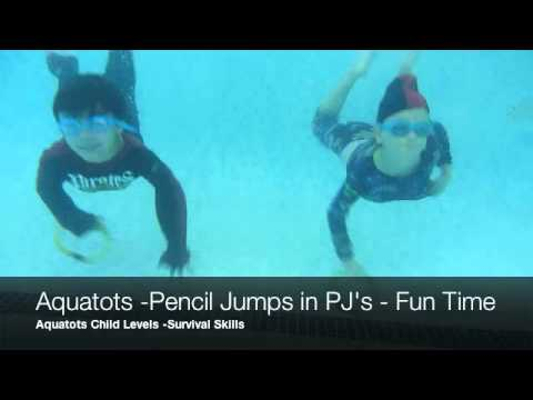 Our Aquatots in Action | AQUATOTS CHILD SWIM LEVELS PENCIL JUMPS