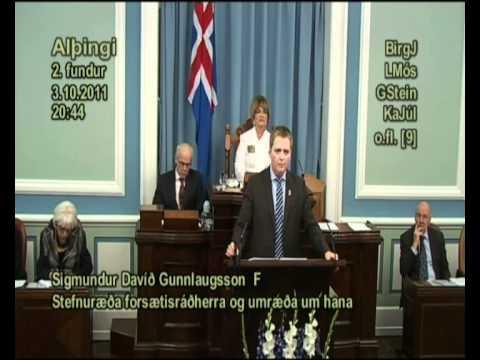 Sigmundur Davíð Gunnlaugsson um stefnuræðu forsætisráðherra 3. október 2011