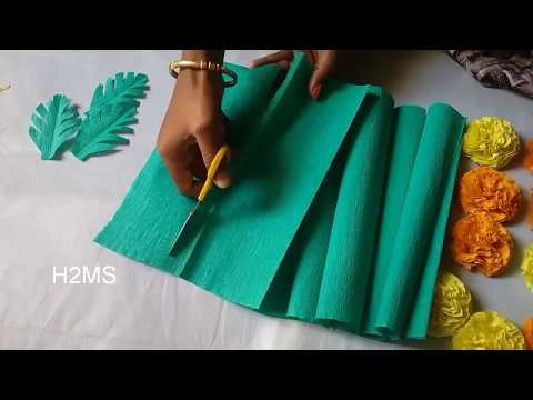 DIY craper paper leaves making,how to make simple crepe paper leaves,paper craft ideas
