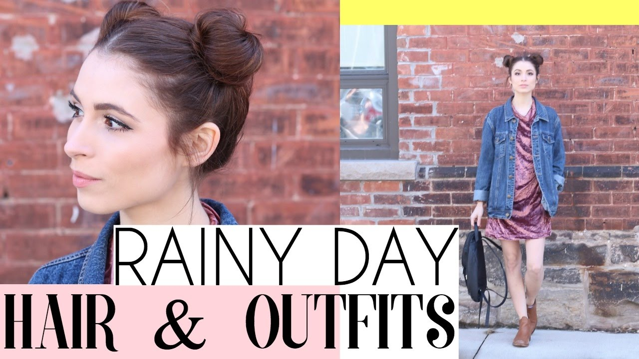 b518cf15c40 SPRING OUTFITS   HAIRSTYLES FOR A RAINY DAY  RAIN PROOF HAIR - YouTube