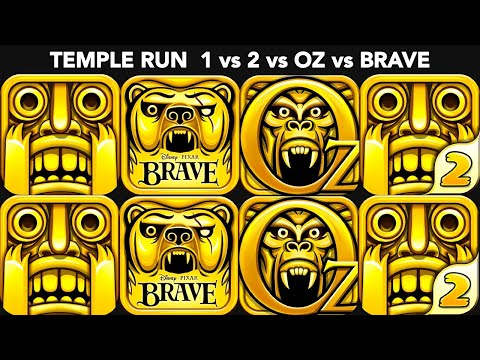 Temple Run VS Temple Run 2 VS Temple Run Oz VS Temple Run Brave | All Maps, Multiple Characters