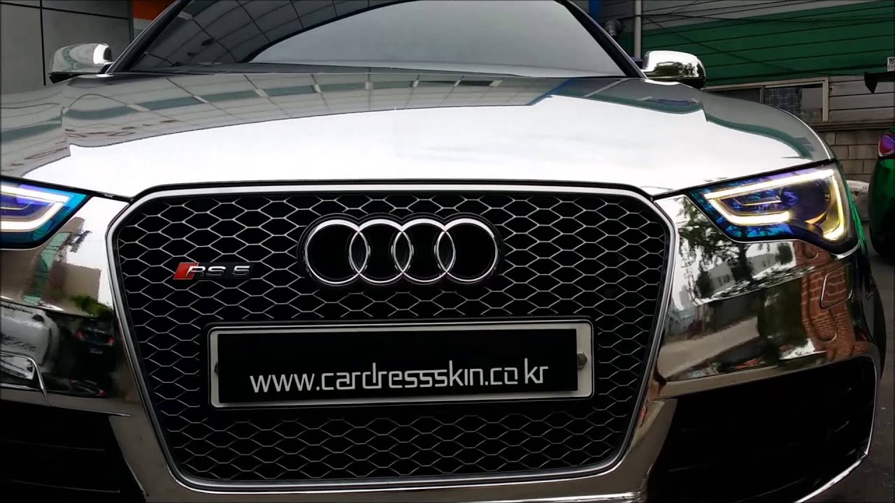 Audi RS5 Silver Chrome wrapping (아우디 RS5 실버크롬 랩핑 카스킨 ...