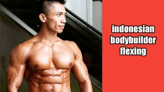 Hot Indonesian Bodybuilder Flexing Muscle