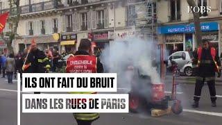 Des milliers de pompiers ont bruyamment manifesté à Paris