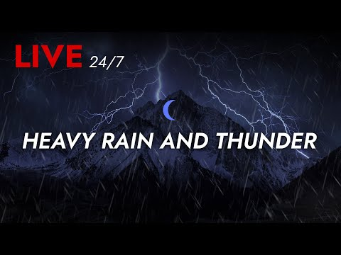 🔴 Heavy Rain and Thunder Sounds 24/7 - Deep Sleep   Thunderstorm for Sleeping - Pure Relaxing Vibes