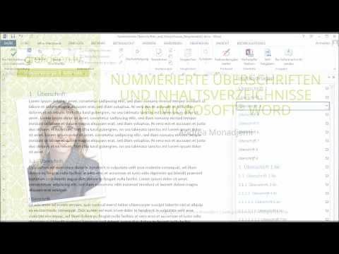 Nummerierte Überschriften und Inhaltsverzeichnisse in Microsoft Word
