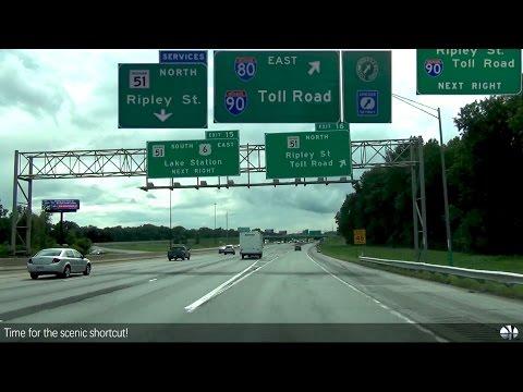 Gary, Indiana - I-94 - I-90 - Indiana Toll Road
