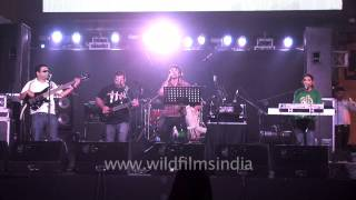 Indian musicians performing a hit Bollywood song