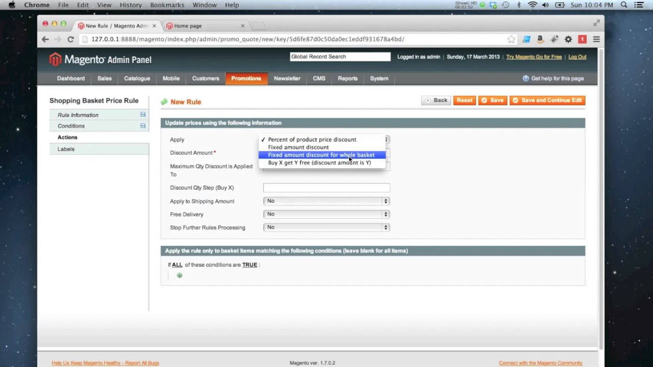 Magento - How to create a shopping cart price rule - YouTube