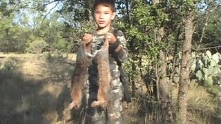 Acrobatic Rabbit after arrow impacts Bow hunting small game in Texas GREAT IMPACT VIDEO Youth
