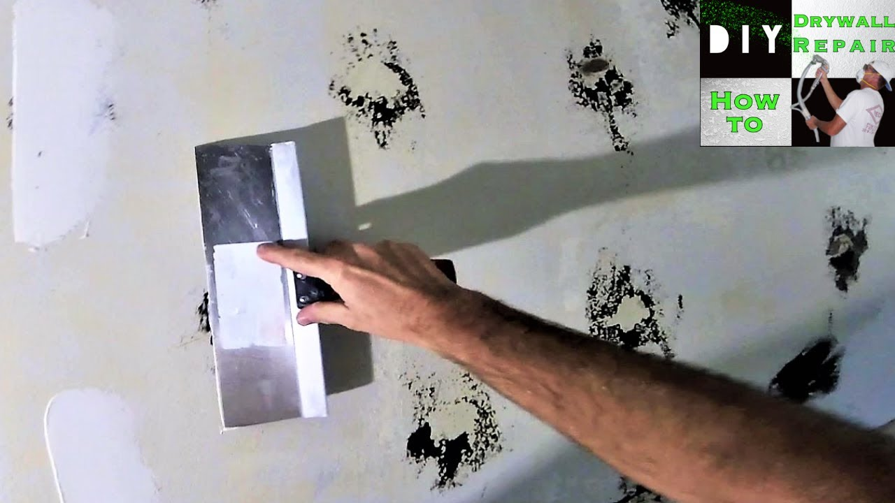 how to repair wall after mirror glue removal diy drywall tips youtube. Black Bedroom Furniture Sets. Home Design Ideas