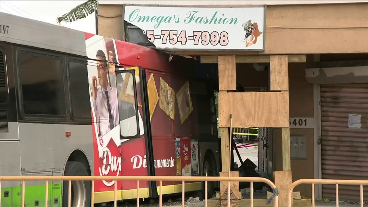 Bus remains lodged in Little Haiti building days after crash