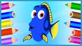 В поисках Дори. Как нарисовать Дори. Мультик - Раскраска. Finding Dory. Рисуем рыбу(Дори - главная героиня мультика