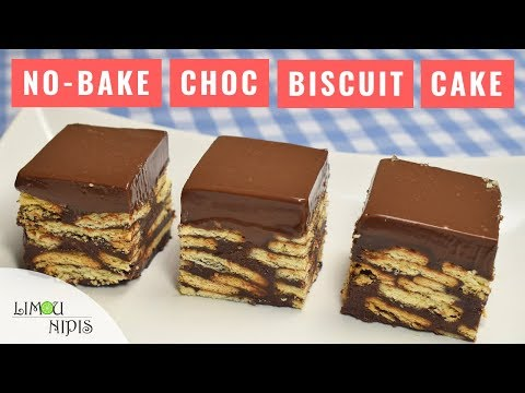 Easy chocolate biscuit cake with condensed milk