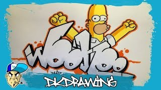 How to draw graffiti letters woohoo & Homer Simpson