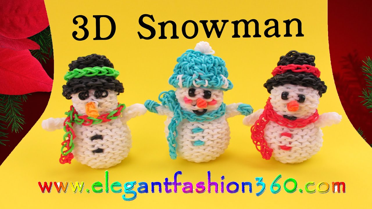 Rainbow Loom Snowman 3D Charms - How to Loom Bands- Holiday/Christmas ...
