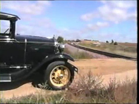 Sibley Model A chases Old STEAM LOCOMOTIVE ( Part  2) Iowa USA