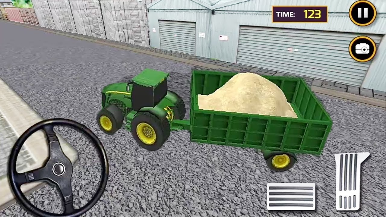 Real Tractor Trolley Sand Transport Game | Tractor Games | Tractor Racing Games | Tractor Transport