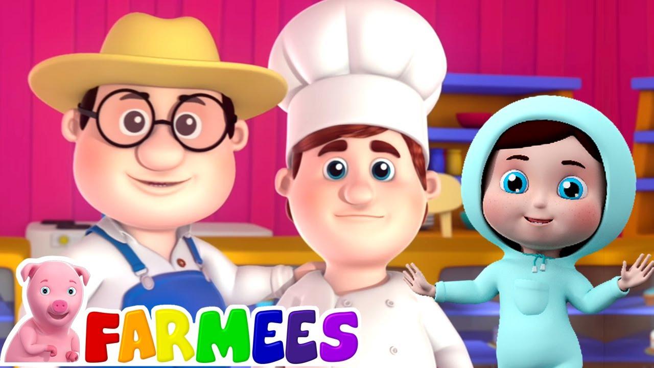 O homem bolo | Música infantil | Canções para crianças | Farmees Português | Desenhos animado