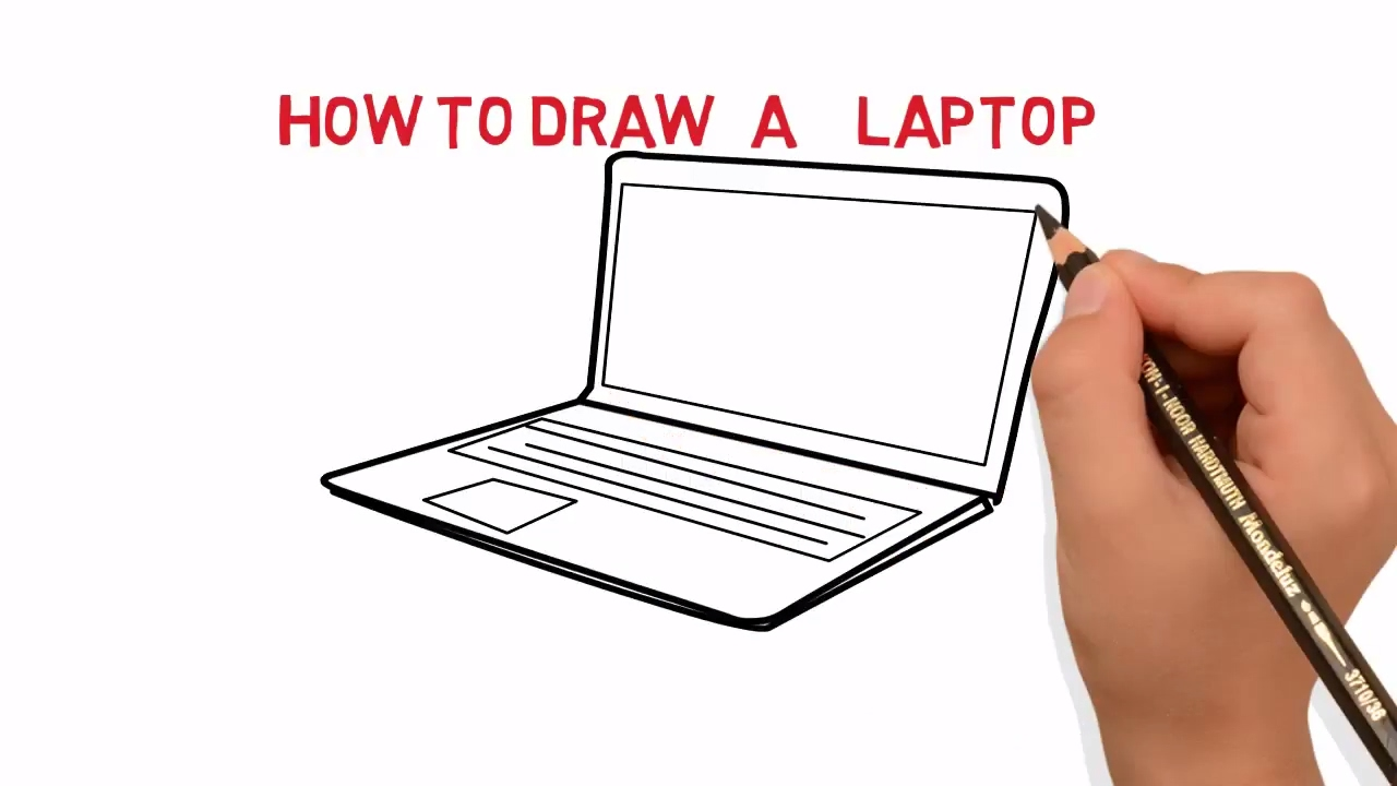 Laptop- How To Draw A laptop/computer Easy Sketch Drawing Video ...