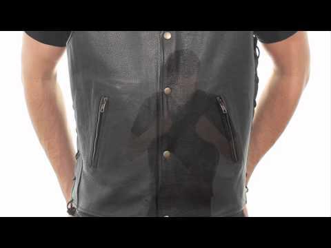 B254 Xelement Men S Snap Button Buffalo Leather Vest At Leatherup Com