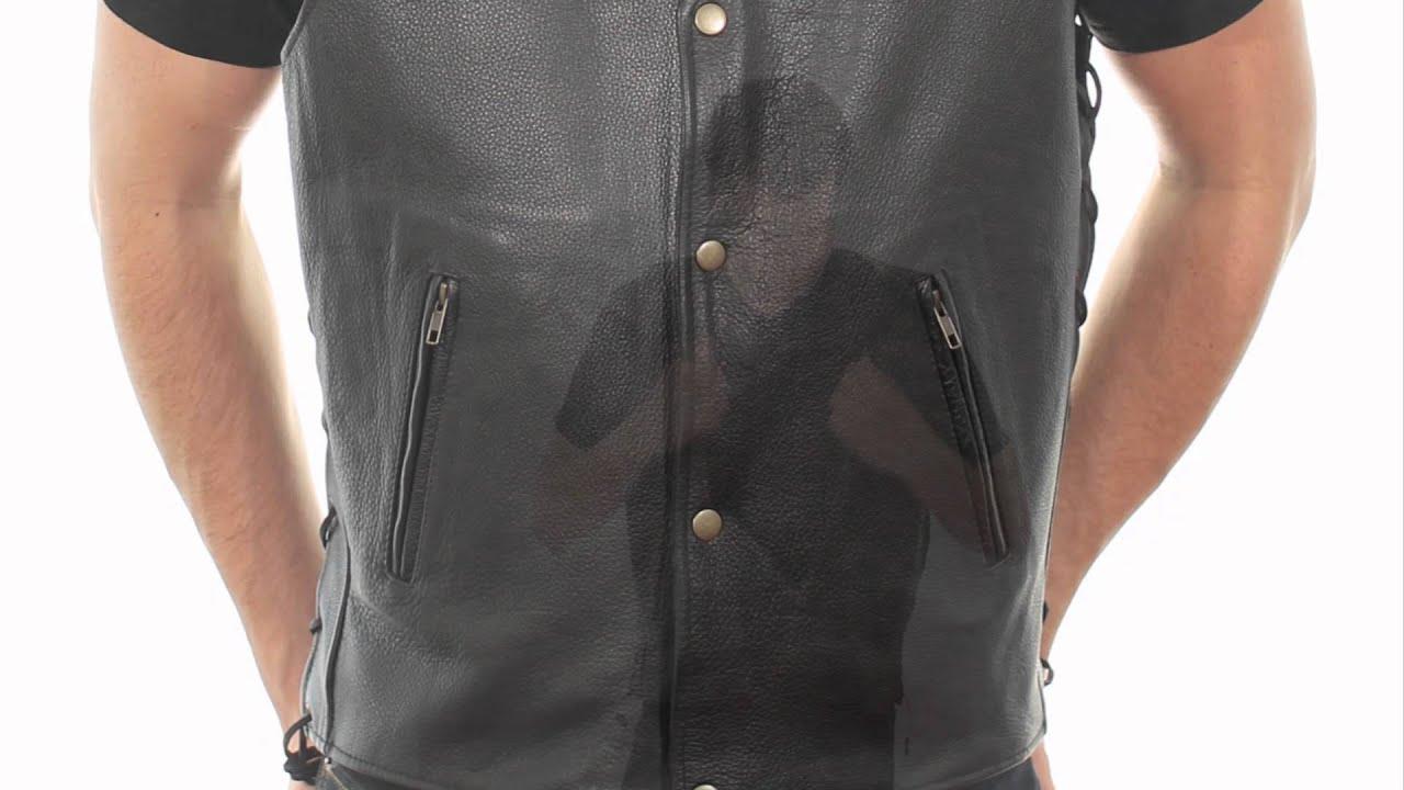 B254 Xelement Men S Snap Button Buffalo Leather Vest At Leatherup