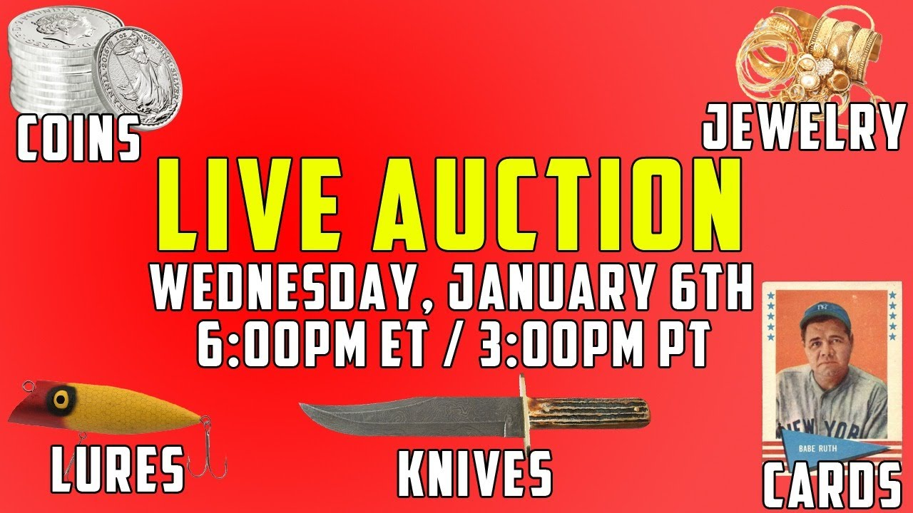 INSANE LIVE AUCTION - Coins, Sports Cards, TONS of Fishing Lures, Jewelry, Vintage + MORE