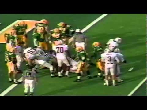 Oregon DE Romeo Bandison stonewalls Stanford FB Tommy Vardell at goal line 11-02-91