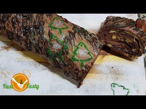 bûche-de-noel-mousse-chocolat-glacée❤facile-❤chocolate-mousse-christmas-log