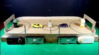 Buatlah permainan sepak bola karton untuk robot dan mobil