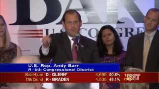 Kentucky U.S. Rep. Andy Barr Victory Speech | Election 2014 | KET