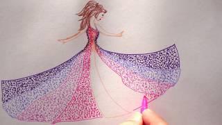 Einfach Frau mit Kleid zeichnen lernen - How to draw a Woman - рисовать на 8 марта