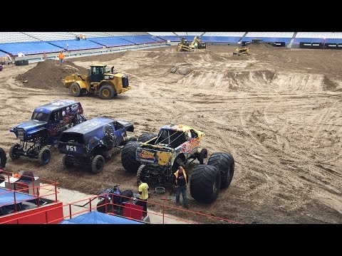 Carrier Dome filled with 200 truckloads of dirt for Monster Jam (video)