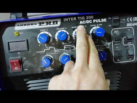 Аврора Pro Inter Tig 200 AC/DC  настройка