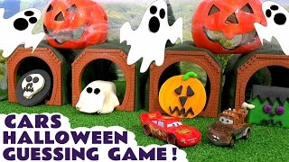 cars for kids disney cars toys mcqueen halloween spooky play doh fun family friendly guessing game