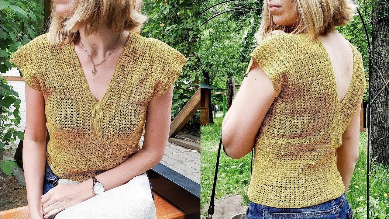 Женская летняя футболка-топ крючком Мастер-класс Crochet Top Tutorial