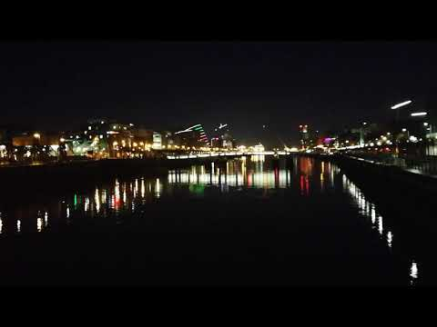 Dublin City Xmas lights including Samuel Beckitt Bridge display