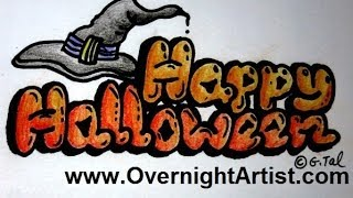 Draw Halloween - Draw Happy Halloween Bubble Letters Step By Step