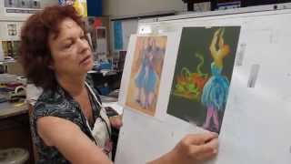 Teacher demonstration: pastel Degas drawing
