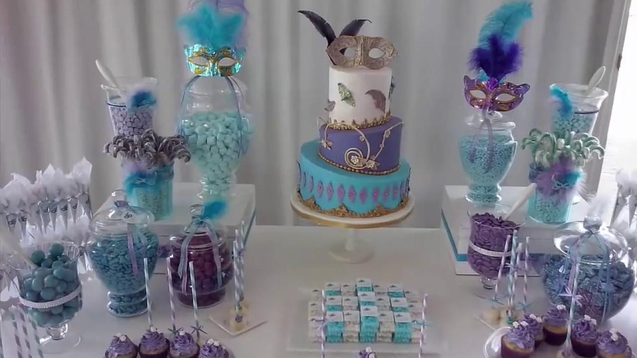 Mesas dulces 15 a os tematica antifaces youtube for Mesa de dulces para 15
